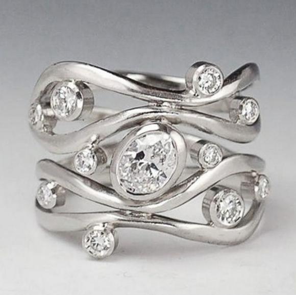 New! Unique White Sapphire Silver Statement Ring